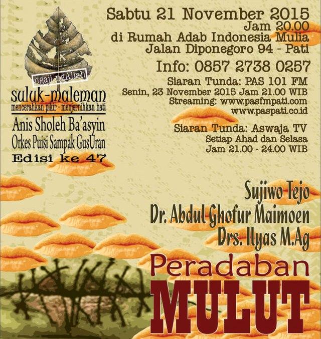 21 November, Suluk Maleman Bareng Sujiwo Tejo