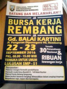Bursa Kerja Rembang, 22 - 23 September 2016