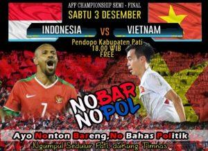 Yuk Nobar Indonesia vs Vietnam di Pendopo Pati Nanti Sore