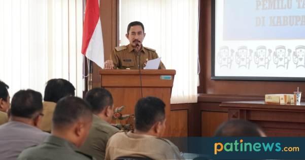Bupati Haryanto memimpin Rapat koordinasi evaluasi pelaksanaan pemilu tahun 2019 di Kabupaten Pati, berlangsung Senin, (8/7) Bertempat di ruang Pragolo Setda Pati.